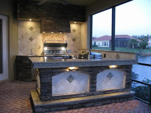 решение для кухни с каменной столешницей