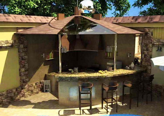 столовая с барной стойкой на открытом воздухе