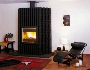 современный дизайн гостиной с камином