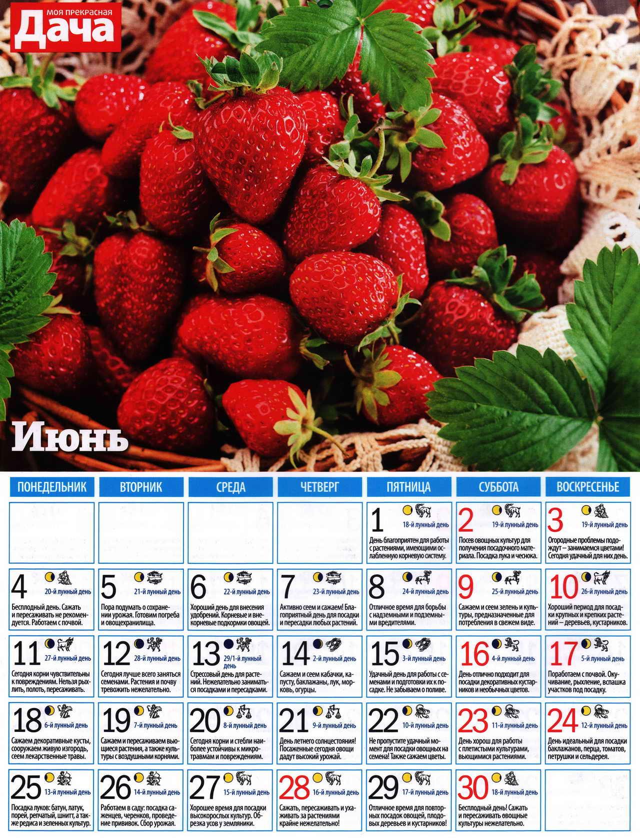 посевной лунный календарь на июнь