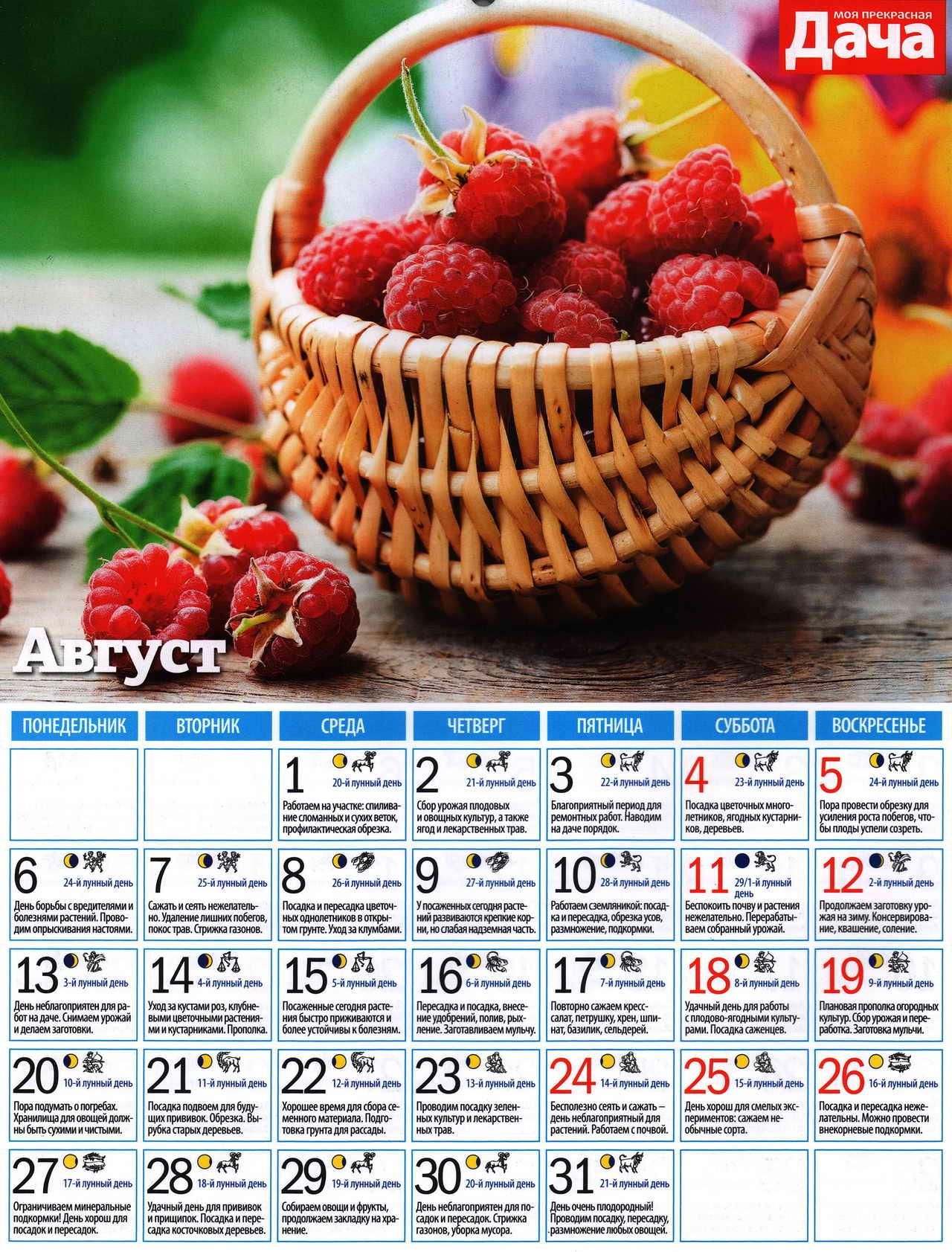 посевной лунный календарь на август