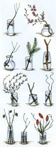 Варианты крепления растений в вазе