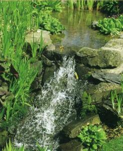 Небольшой водопад в саду
