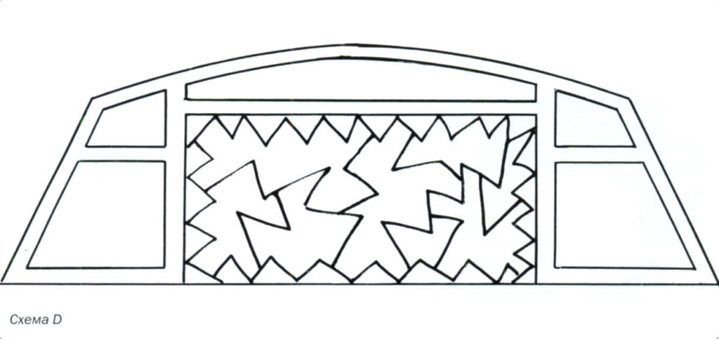 Приклеивание картонных деталей в центр изголовья