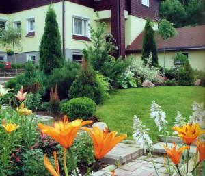 Зеленая зона перед дачный домом