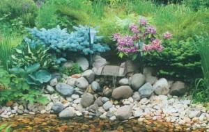 Сад с декоративным ручьем