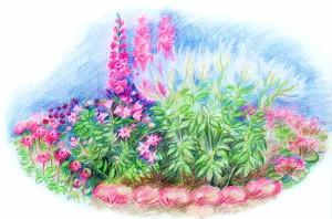 Клумба в розово-пурпурной гамме