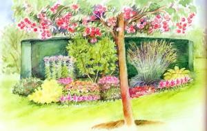 Цветник на фоне живой изгороди