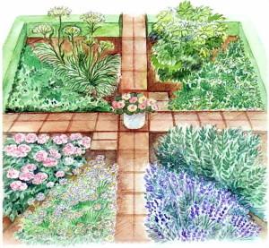 Квадратный сад из многолетних пряных трав