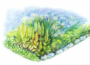 Цветник в оттенках зеленого