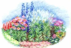 Яркий цветник из многолетников