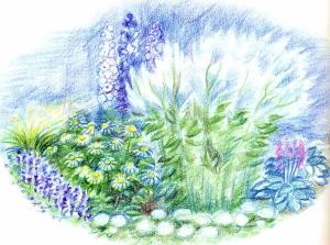 Цветник в бело-голубой гамме